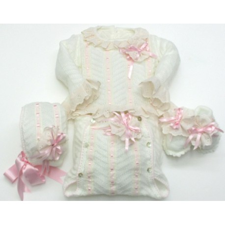 Sweater+nappy+bonnet+booties Md.1478