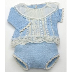 Diaper cover+sweater+bonnet Md.1096